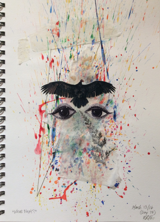 """What Next?""  Art journal, watercolour and collage"