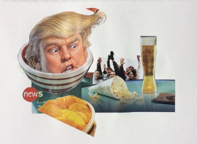 """Potato Chip News"" Art journal, magazine collage."