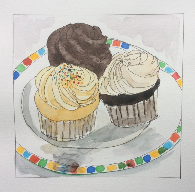 """Cupcakes for Stacey""  Art journal, ink and watercolour"