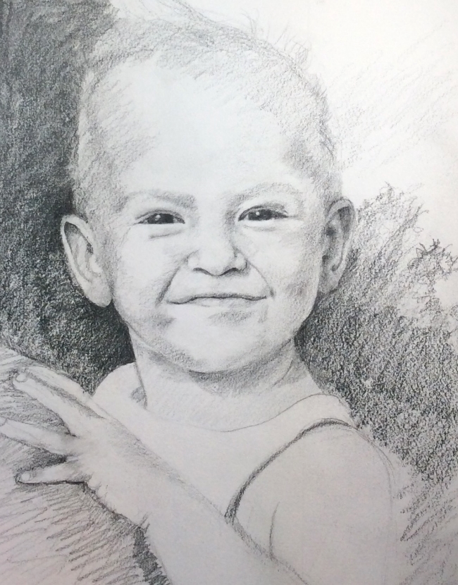 """Stacey, Bermuda, 2001""  Pencil on paper, 13 x 11"""