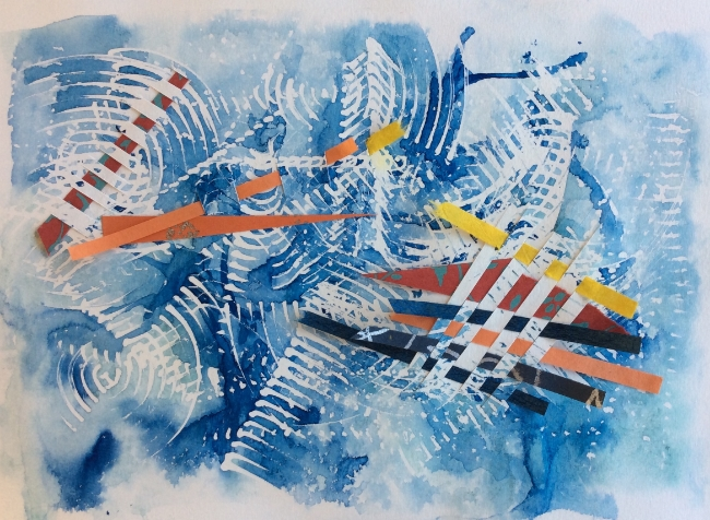 """""""Tornado"""" Art journal, watercolour and woven papers"""