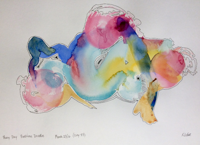 """""""Busy Day Bedtime Doodle"""" Art journal, watercolour and ink"""