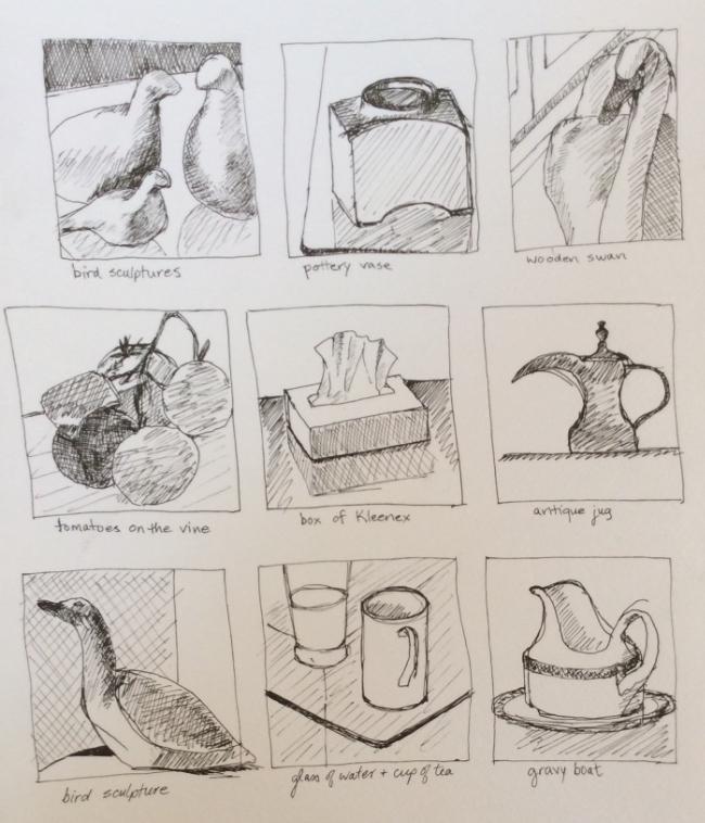 Scavenger hunt at Trenton, art journal, ink