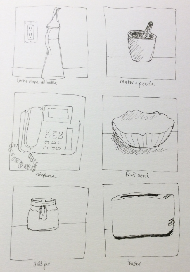 One-minute kitchen drawings, art journal, ink