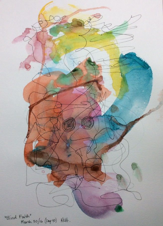 """Blind Faith"" Art journal, watercolour and ink"