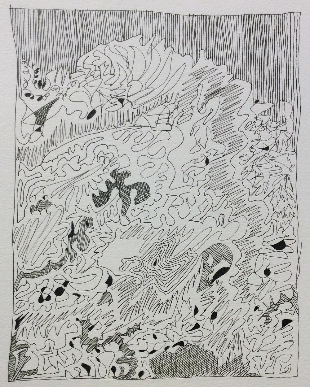"""""""Grumpy Mood Doodle"""". Art journal, ink."""