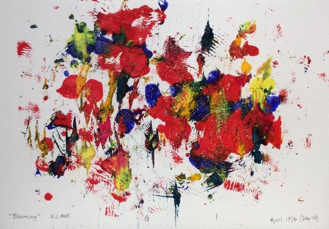 """Blooming"" Art journal, acrylic."