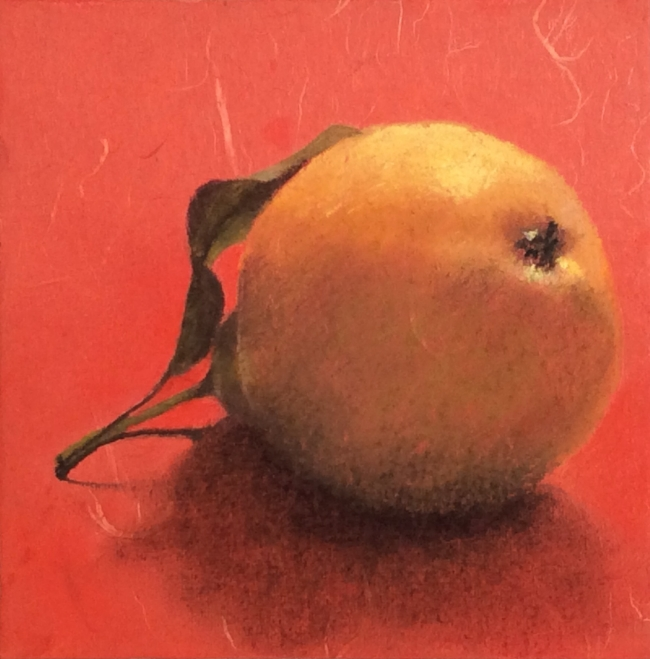 """""""Pear 44"""" Pastel on Japanese paper, 8 x 8"""""""