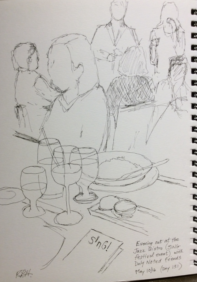 """Evening out at the Jazz Bistro (SING Festival event) with Duly Noted friends""  Art journal, ink"