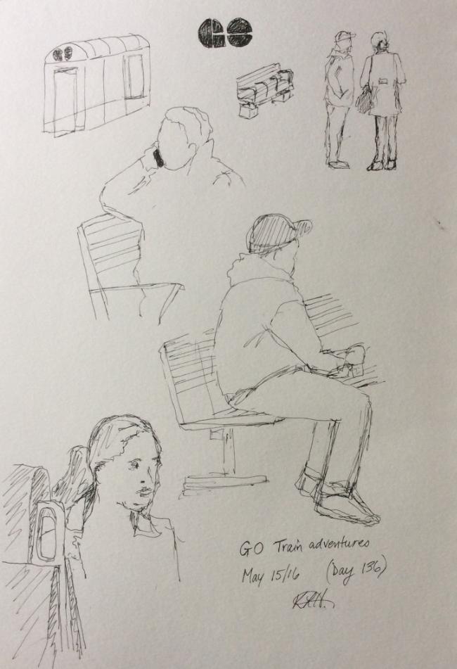 """""""GO Train Adventures"""" Art journal, ink"""