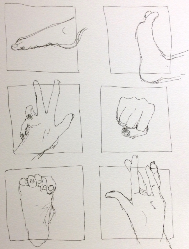 """One-minute (and a bit) sketches of Stacey's hands and feet""  Art journal, ink."