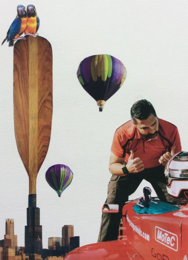 """Car Pool"" Art journal, magazine collage"