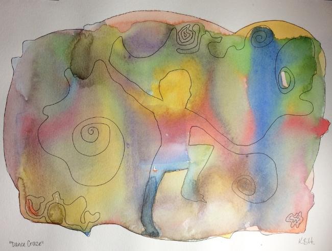 """Dance Craze"" Art journal, watercolour and ink"