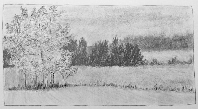 """""""Behind Auchentoshan"""" Art journal, pencil and ink"""