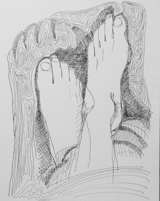 """Playing Footsie"" Art journal, ink"