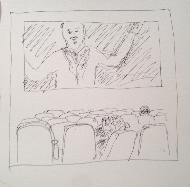 """""""Movie at The Fox"""" Art journal, ink"""
