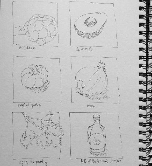 """One-minute ingredients sketches"" Art journal, ink"