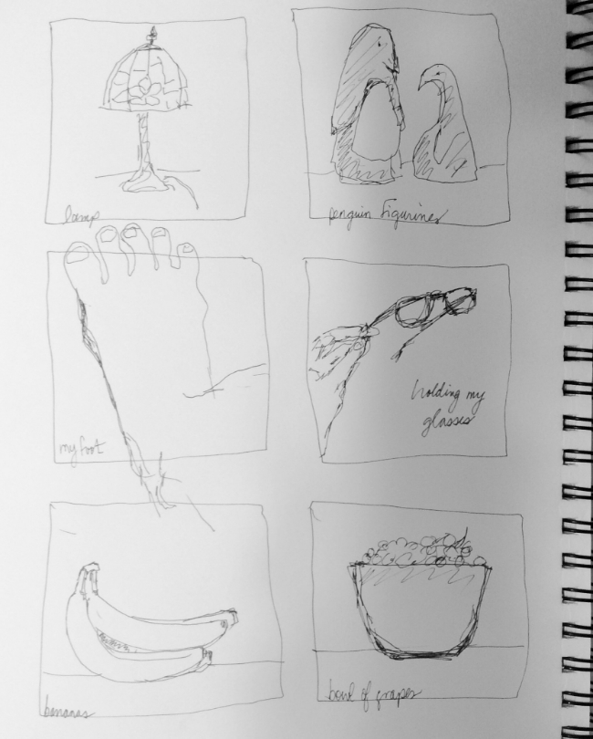 """""""One-minute sketches at San's"""" Art journal, ink"""