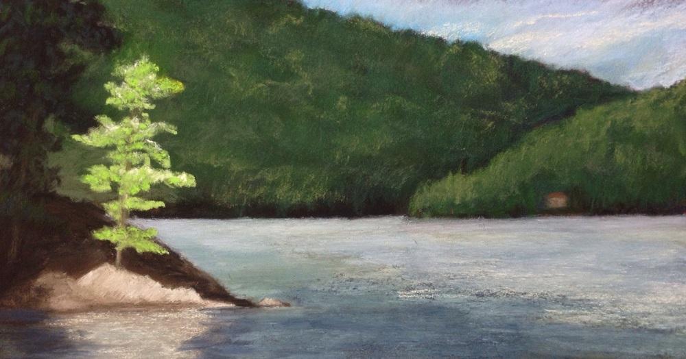 """""""Calm Morning, Grand Lake"""". Pastel, 5x10"""""""
