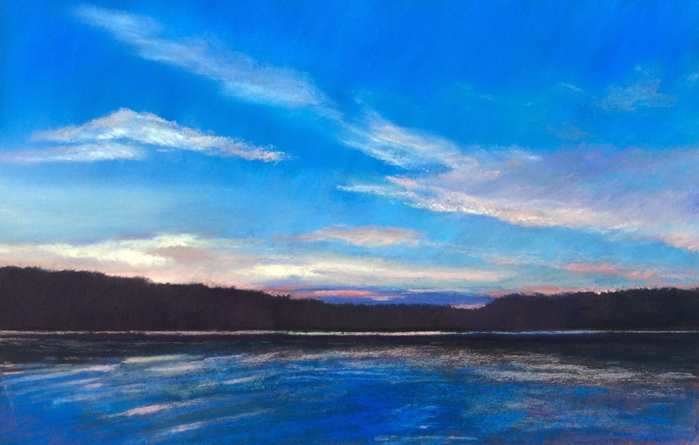 """Sunset on Grand Lake"" Pastel, 8 x12"""