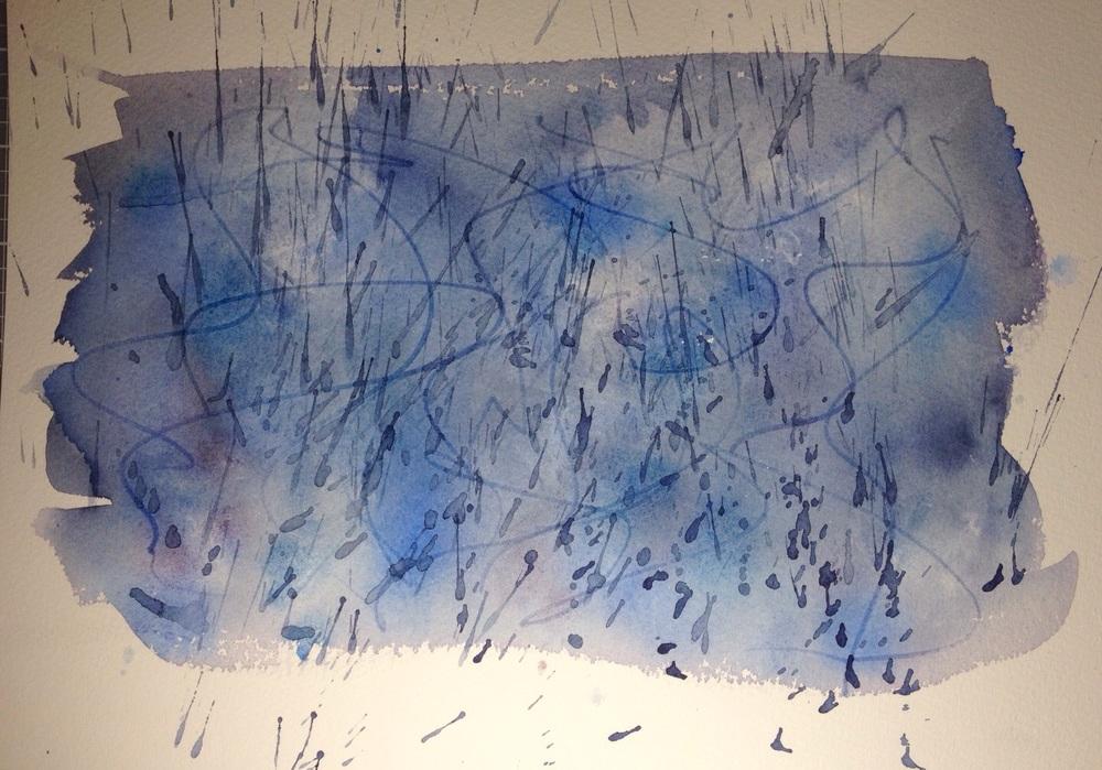 """Rainy Day"". Art journal, watercolour"