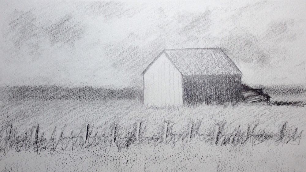"""The Barn Near Highway 50"". Art journal, pencil"
