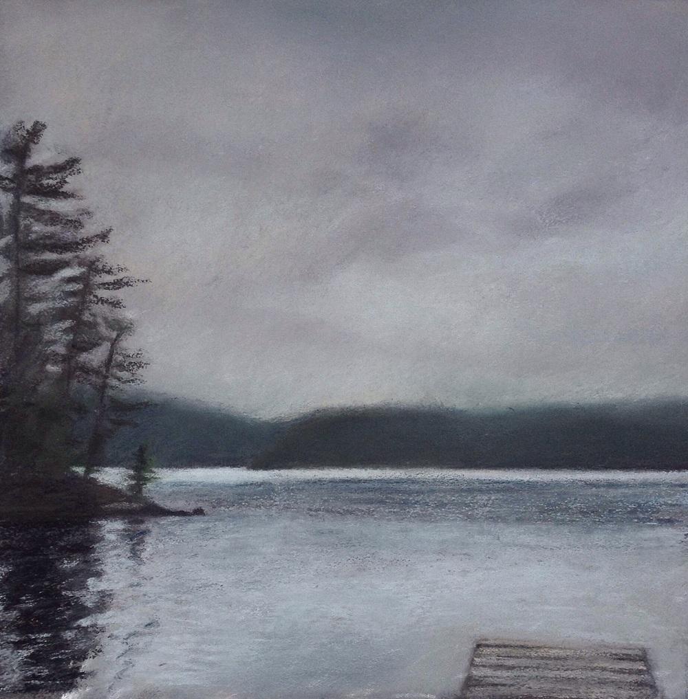 """Rainy Day on Grand Lake"". Pastel, 8x8"""