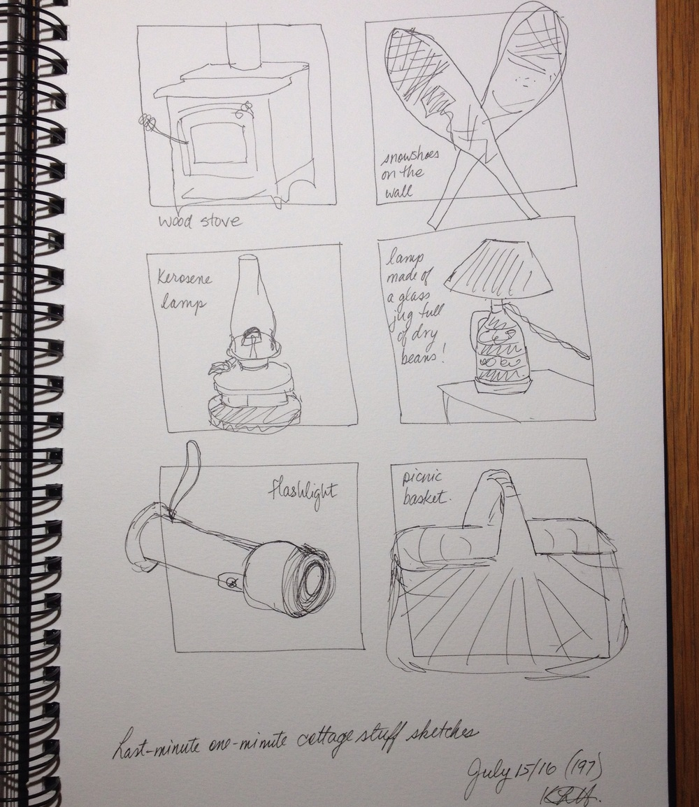"""Last-minute one-minute cottage stuff sketches"". Art journal, ink"
