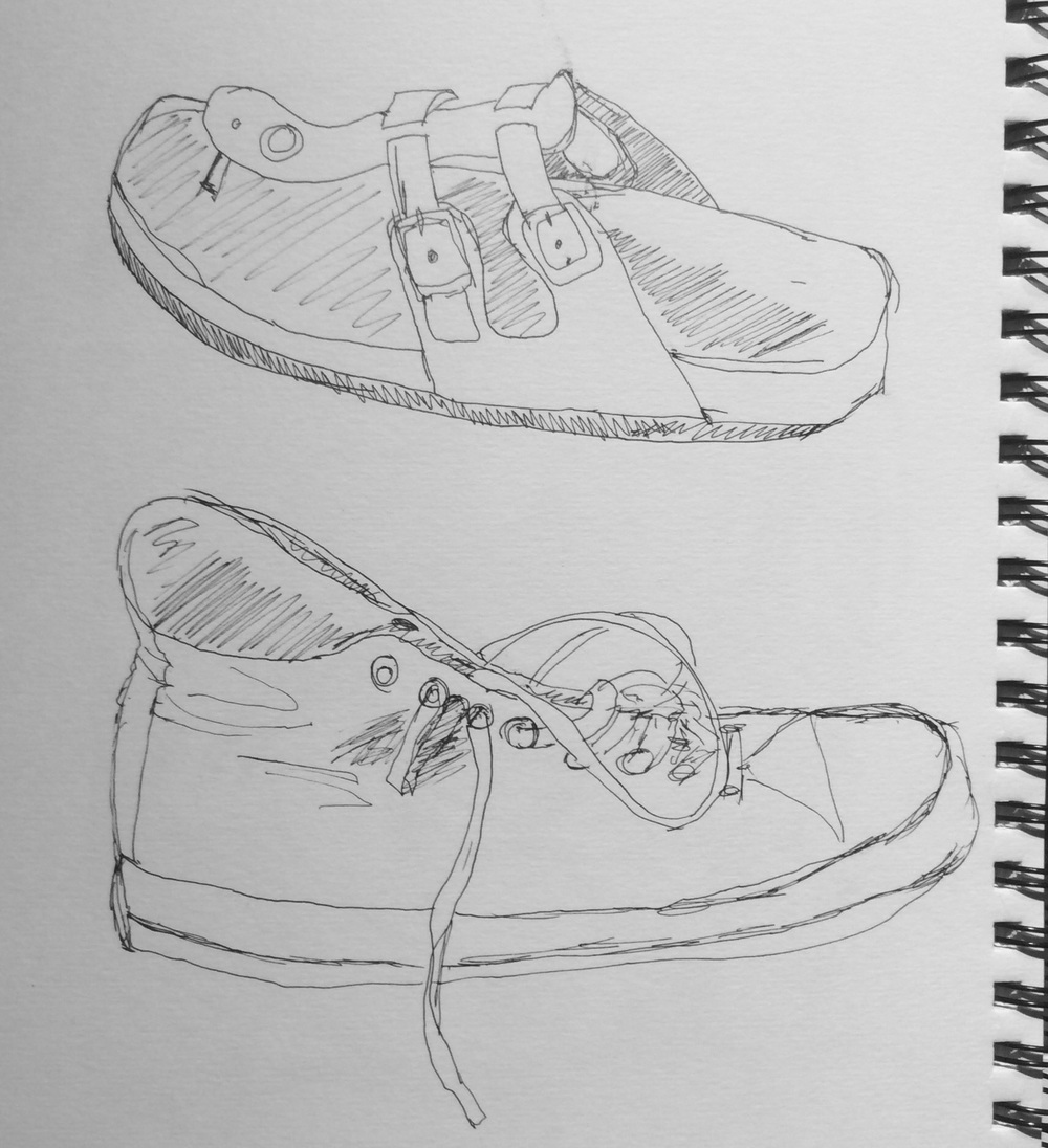 """""""Shoes"""". Art journal, ink"""