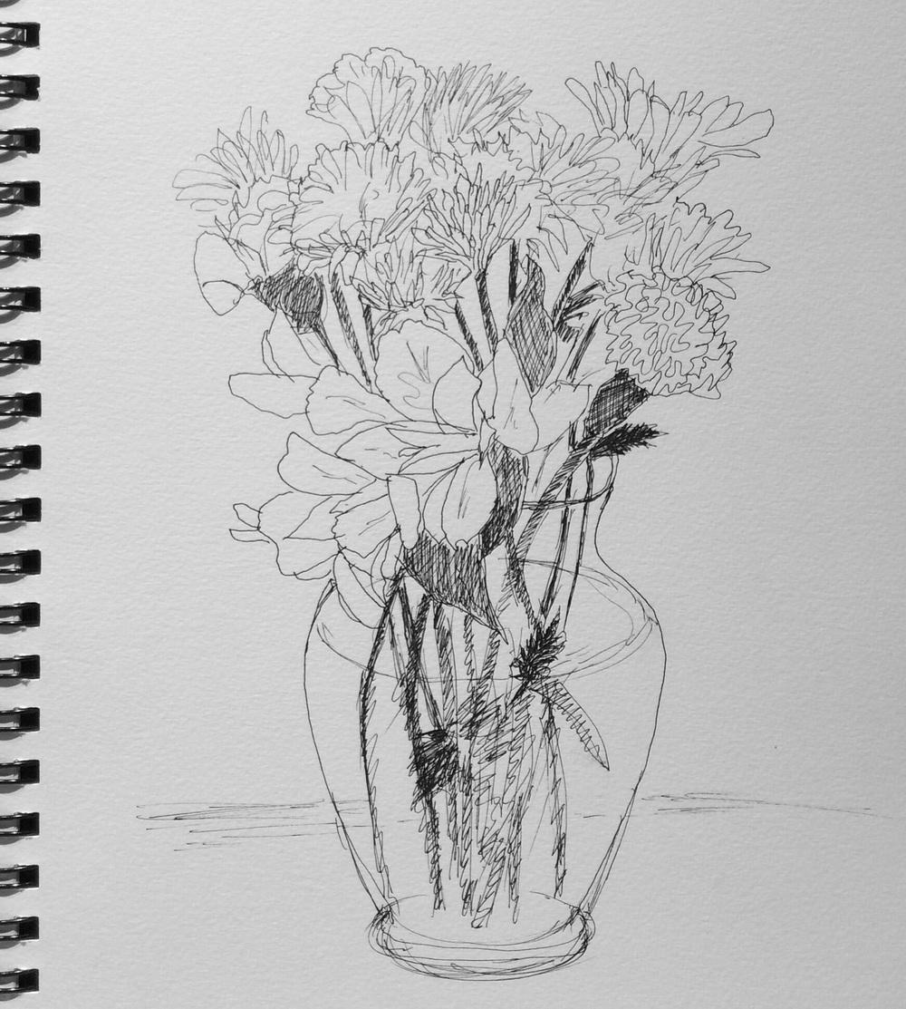 """Edna's Bouquet"". Art journal, ink"