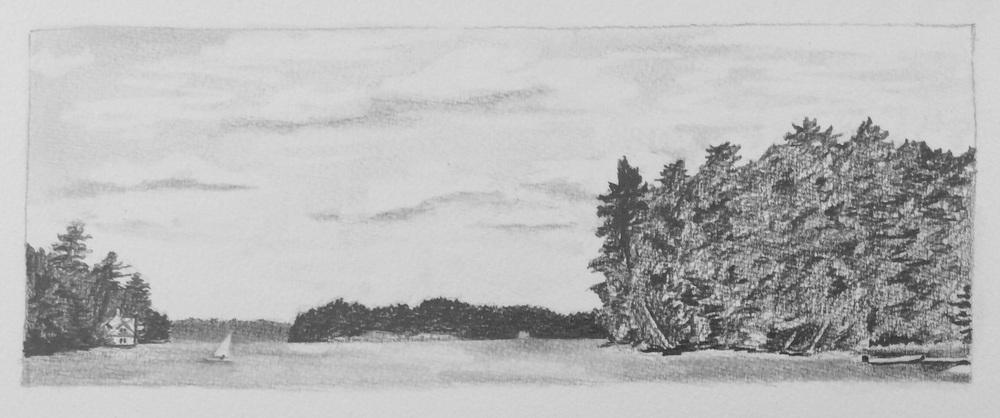 """View from the Boat House, Whalon Bay, Lake Joseph, Muskoka"". Art journal, pencil."