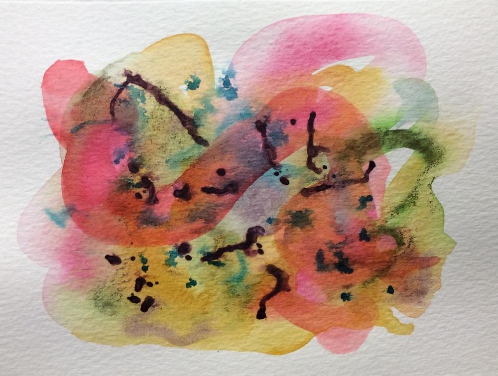 "Watercolour doodle notecard, 5x7"""
