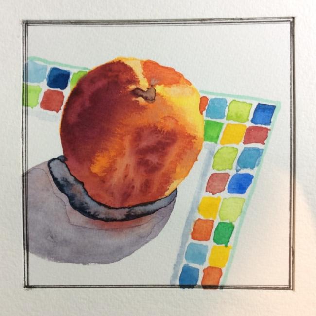 """Peach on a Little Square Plate"" Art journal, watercolour."