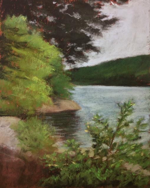 """Green Lake"" Pastel, 9 x 7"""