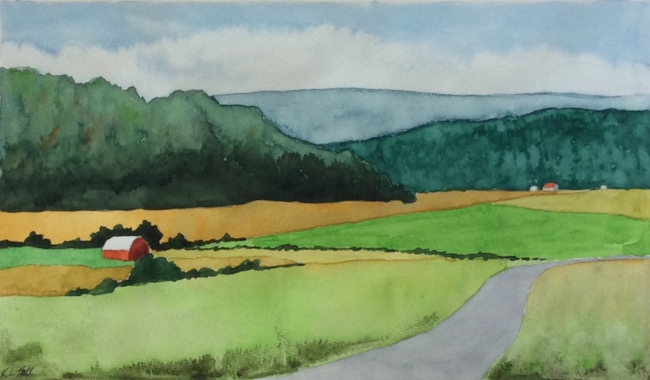"""En Route to Wakefield"". Art journal, watercolour"