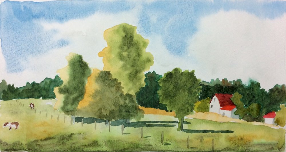 """Farm Between Tweed and Belleville"". Art journal, watercolour."