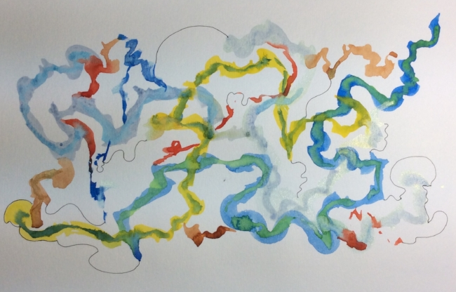 """""""Wild Goose Chase"""" watercolour and ink doodle"""