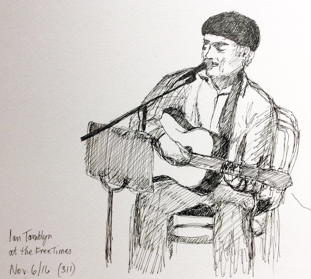 """""""Ian Tamblyn at the Free Times Cafe"""" Art journal, ink"""