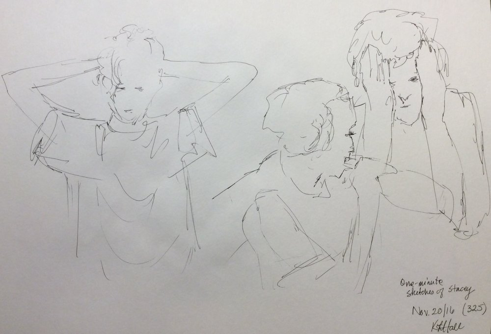 One-minute sketches of Stacey. Art journal, ink