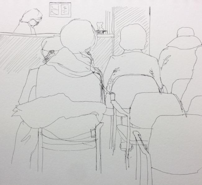 """Waiting Room"" Art journal, ink"