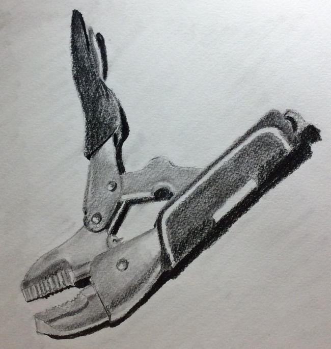 """Locking Pliers"". Art journal, pencil"