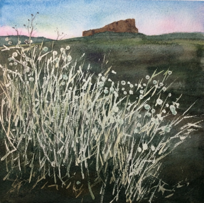 """Dusk on the Mesa"", from a photograph by Summer Brennan. Watercolour, 7 x 7"""