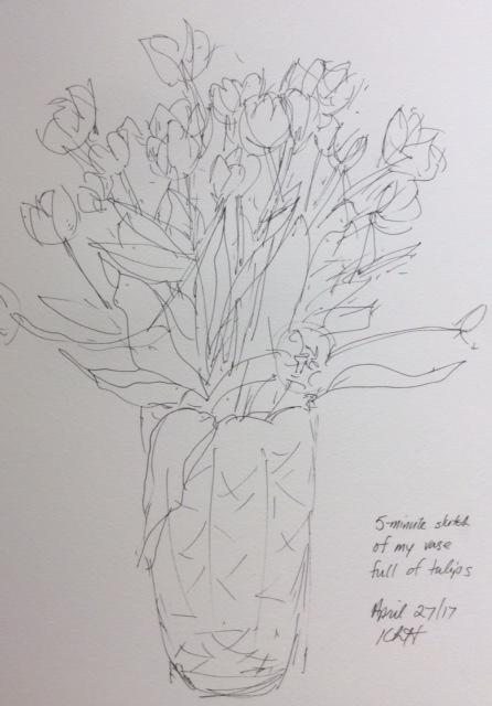 Five-minute sketch of my case of tulips. art journal, ink