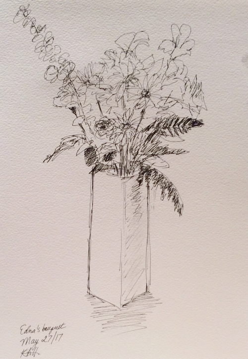 Quick sketch of my mother's vase of flowers.