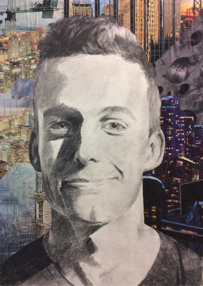 """Ryan Brown, Structural Engineer""  Pencil drawing with magazine collage, 15.5 x 11"""