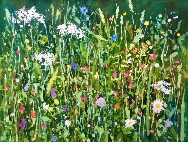 """Roadside Wildflowers"", watercolour, 12 x 16"" (framed under glass)"