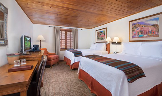 Your traditional room at Inn on the Alameda has two queen beds. A limited number of King rooms are also available. Bring a friend along or we will match you with a roommate. Ask about a single room option.