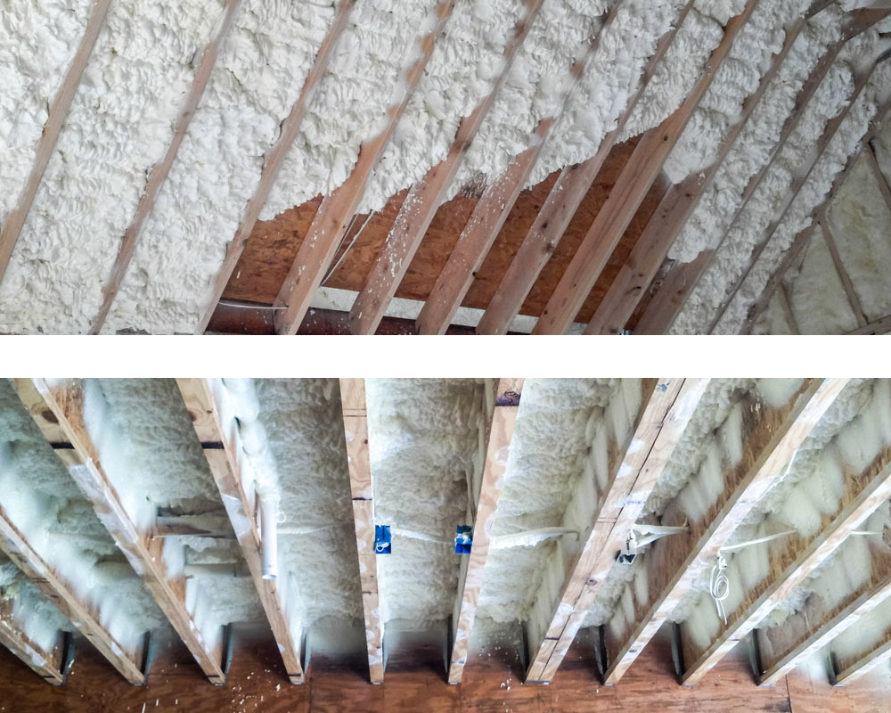 FOAM INSULATION  - This technique includes spraying an expanding foam into wall cavities and concrete slabs to create a tight barrier against air infiltration. Foam insulation is also used to seal off decks and roof attics and create a conditioned temperature for attic rooms.