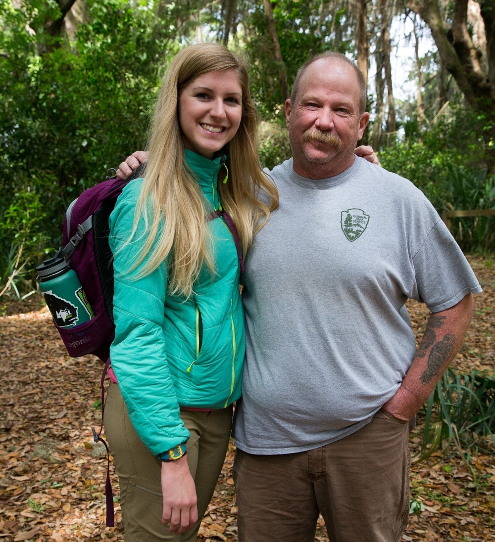 Georgia Conservancy Cumberland Island Trail Restoration Fellow Laura Buckmaster and Jim Osborne of Cumberland Island National Seashore