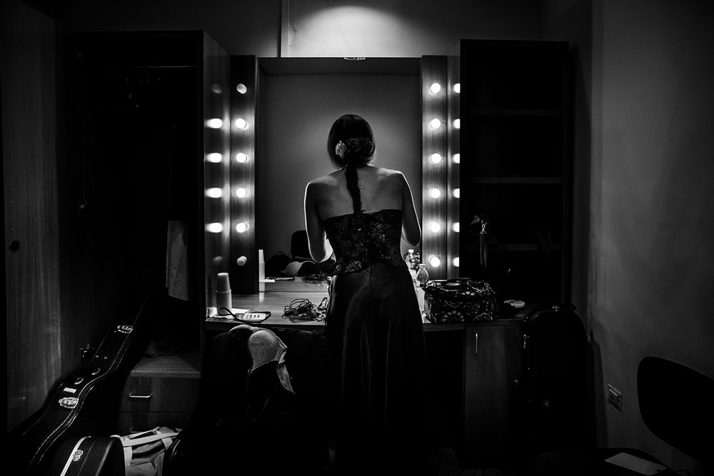 PRIMAVERA MUSICALE - Singer and musician Lavina Mancusi making up before performing at Auditorium Parco della Musica in Rome